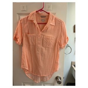 Salmon gingham plaid Merona shirt. Size S.